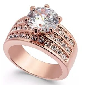 Charter Club Rose Gold-Tone Crystal 3 Row Ring